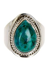 Mistraya Jewelry Sterling Silver Pear Cut Chrysoprase Ring Green