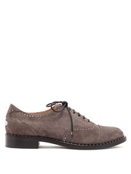 Jimmy Choo Reeve Studded Suede Brogues Grey