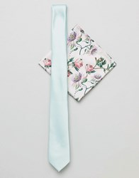 Asos Design Slim Tie In Mint And Floral Pocket Square Green