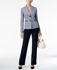 Le Suit Houndstooth Colorblocked Pantsuit Navy White