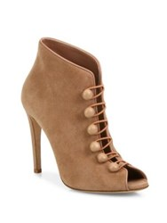 Gianvito Rossi Suede Button Strap Peep Toe Booties Tan Black