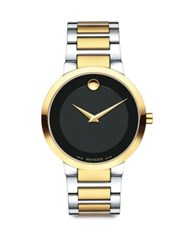 Movado Modern Classic Two Tone Stainless Steel Bracelet Watch Black Gold