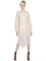 Talitha Fringed Embroidered Silk Georgette Dress