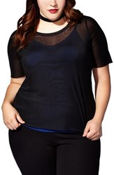 Mblm By Tess Holliday Plus Size Women's Mesh Tee With Contrast Tank