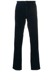 Massimo Alba Corduroy Straight Leg Trousers Blue