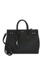 Saint Laurent Medium Leather Carryall Briefcase Marine Black