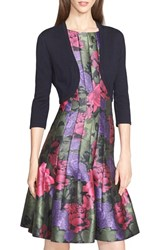 Women's Oscar De La Renta Cashmere And Silk Bolero Navy
