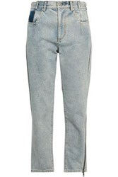 3.1 Phillip Lim Woman Cropped Faded High Rise Straight Leg Jeans Light Denim