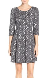 Taylor Dresses Women's Floral Jacquard Fit And Flare Dress