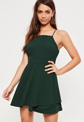 Missguided Green Square Neck Open Back Skater Dress