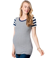 A Pea In The Pod Loveappella Maternity Striped Tee Varsity Blue White