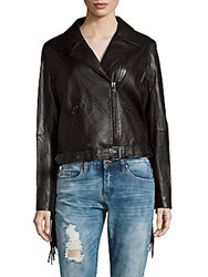 Haute Hippie Notch Collar Tassel Back Leather Jacket Black