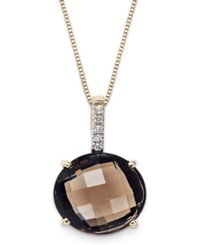 Macy's 14K Gold Necklace Smokey Topaz 6 Ct. T.W. And Diamond Accent Round Pendant Brown