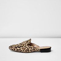 River Island Womens Brown Leopard Print Backless Loafers