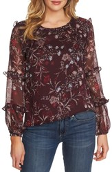 Cece Plus Size Floral Mystery Tiered Ruffle Blouse Deep Claret