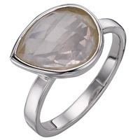 A B Davis Sterling Silver Rose Quartz Ring