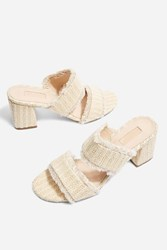 Topshop Two Part Woven Mules Cream
