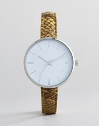 Asos Design Snakeskin Watch Yellow