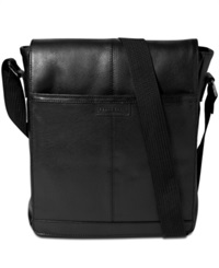 Perry Ellis North South Leather Crossbody Bag Black