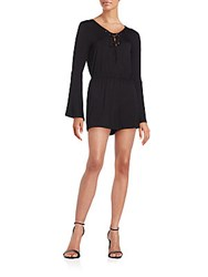 Romeo And Juliet Couture Lace Up Short Romper Black