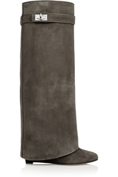 Givenchy Shark Lock Wedge Knee Boots In Gray Green Suede