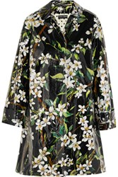 Dolce And Gabbana Floral Print Coated Cotton Raincoat Multi