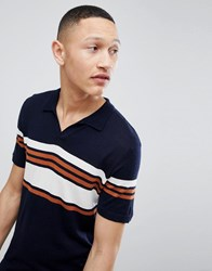 Kiomi Knitted Polo Shirt With Vintage Stripe Navy