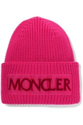 Moncler Flocked Grosgrain Trimmed Ribbed Wool Beanie Pink