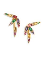 Nikos Koulis Spectrum Brown Diamond Tsavorite Iolite Pink Tourmaline Yellow Beryls And Rhodolite Ear Jacket Gold Multi