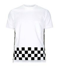 Dsquared2 Checkered Side Zip T Shirt Male White