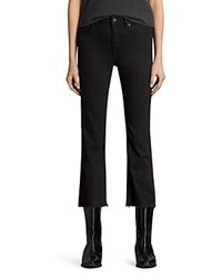 Allsaints Heidi Flared Crop Jeans In Jet Black