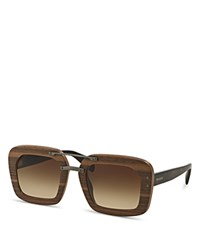 Prada Wooden Square Sunglasses Nut Havana