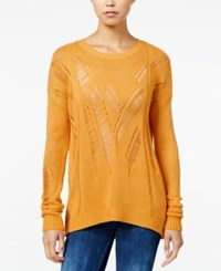 One Hart Juniors' Open Knit Sweater Only At Macy's Mustard