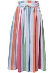Paul Smith Ps Striped Midi Skirt Blue