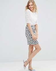 Poppy Lux Pippa Rose Jersey Tube Skirt Navy White