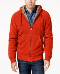 Weatherproof Vintage Men's Big And Tall Faux Sherpa Lined Hoodie Only At Macy's Burnt Orange