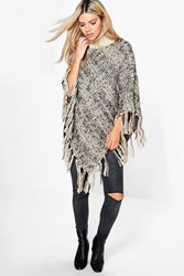 Boohoo Cable Knit Fringe Poncho Charcoal