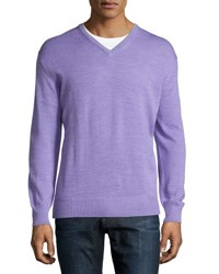 Ike Behar V Neck Long Sleeve Sweater Lilac
