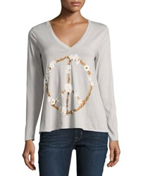 Chaser Petal Peace Sign Top Light Gray