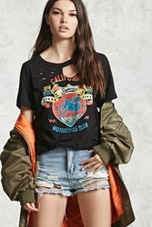 Forever 21 Ripped Moto Club Graphic Tee Black