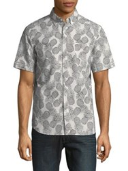 Black Brown Pineapple Short Sleeve Button Down Shirt Slate