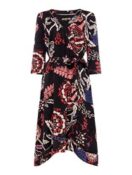 Biba Printed Jacquard Wrap Dress Multi Coloured Multi Coloured
