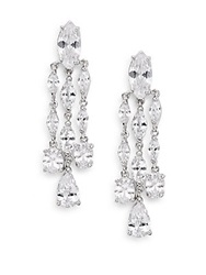 Cz By Kenneth Jay Lane Marquis Triple Drop Chandelier Earrings Silver