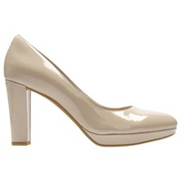 Clarks Kendra Sienna Block Heeled Court Shoes Nude