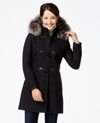 Nautica Faux Fur Trim Duffle Coat Charcoal