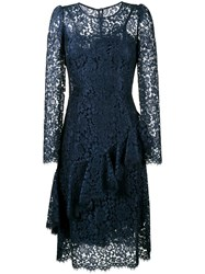 Dolce And Gabbana Lace Ruffle Long Sleeve Dress Blue