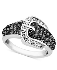 Kaleidoscope Sterling Silver Ring Black Crystal Buckle Ring With Swarovski Elements