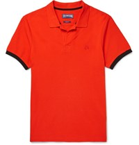 Vilebrequin Palatin Contrast Tipped Cotton Pique Polo Shirt Red