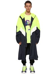 Juun.J Hooded Zip Up Long Windbreaker Lemon Blue