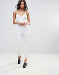Neon Rose Luxe Slim Trousers White